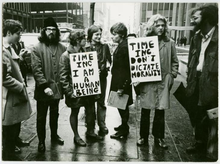 Copyright Diana Davies Gay Liberation Front picketing at the Time-Life Building, New York, 1969 (left to right, Linda Rhodes with sign, Lois Hart, Ellen Broidy, Jim Fouratt)